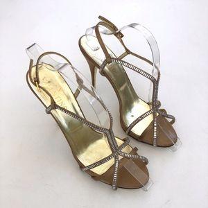 Valentino Satin Crystal Studded Strap Heels 11